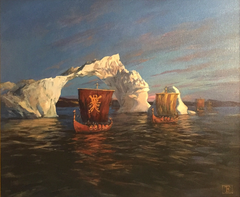 Viking Boats Painting